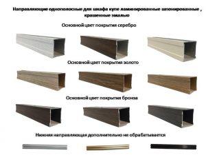 Направляющие однопосные для шкафа купе ламинированные, шпонированные, крашенные эмалью Актобе